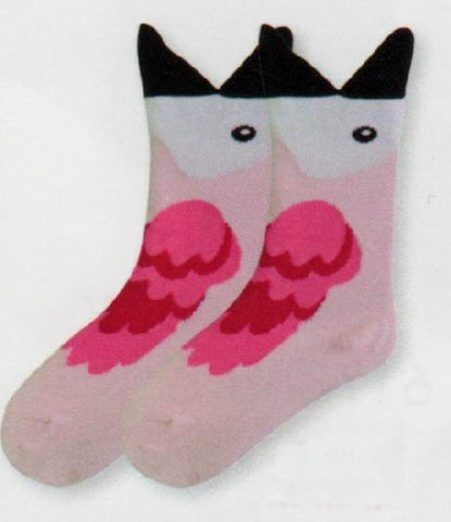 K Bell Kids Wide Mouth Flamingo Sock starts with the Black Beak which is the Wide Mouth Cuff. Then a White Face and Black Eye. The Flamingo is mostly Light Salmon Pink after the Face. The Wings are made by Flamingo Pink and Rose Red.