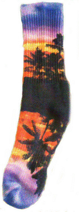 Kurb for Men makes Reflection of an isle retreat of Palm Trees and Sunset in the water in a lagoon. Oranges, Yellows, Lavenders, Purples and Blues with Black Shadows makes this a very cool sock.