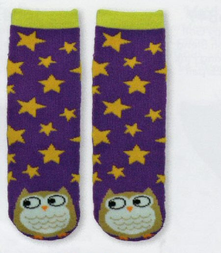K Bell Kids Owl Tube Non-Skid Slipper Sock with Purple background, Gold Stars. The Owl is at the Toes. The Owl is colored Camel on the Outside. White with Camel Scallops for Feathers. Black and White for Eyes and Outlines.