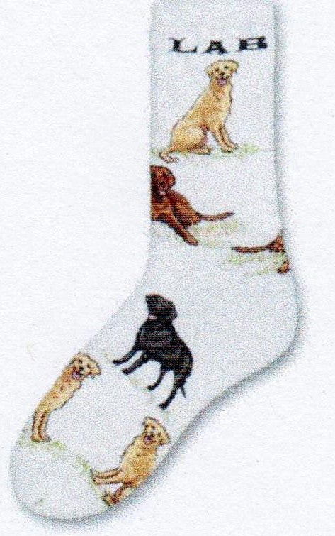 This Lab Poses Sock will be discontinued but I have one left. It says Lab at the top and has Yellow, Chocolate and Black Labs in Poses on it. The new socks will have poses of each dog in Solid Colors only.