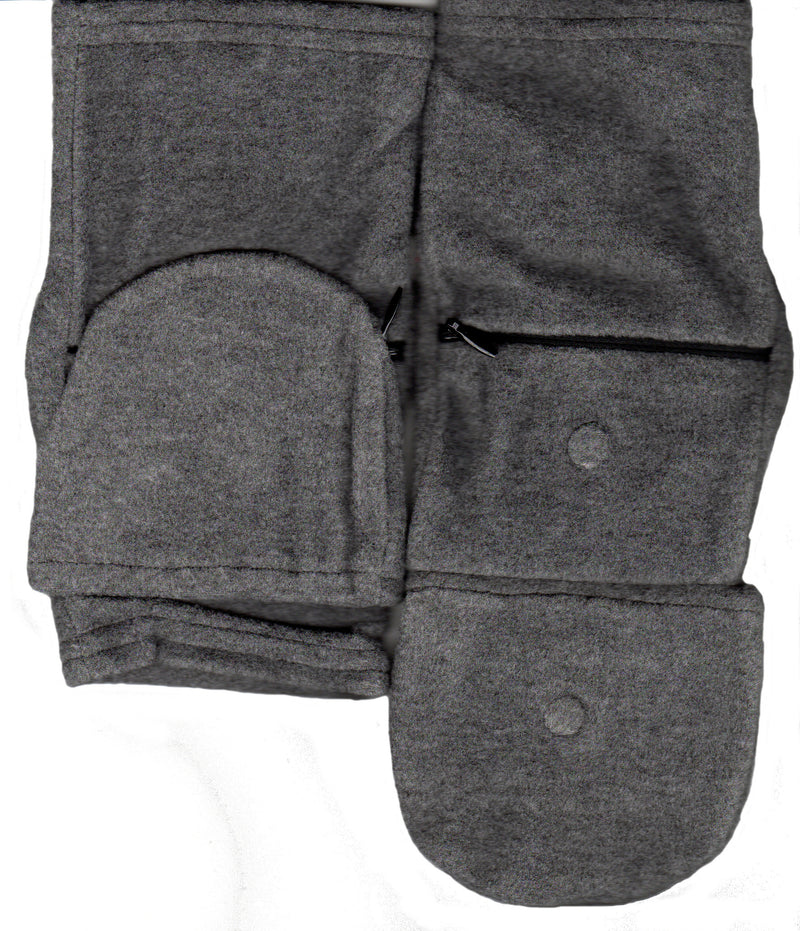 Lauer Fingerless Glove with Cap has Zippered Pocket and Magnetic Fastener in Heather Grey