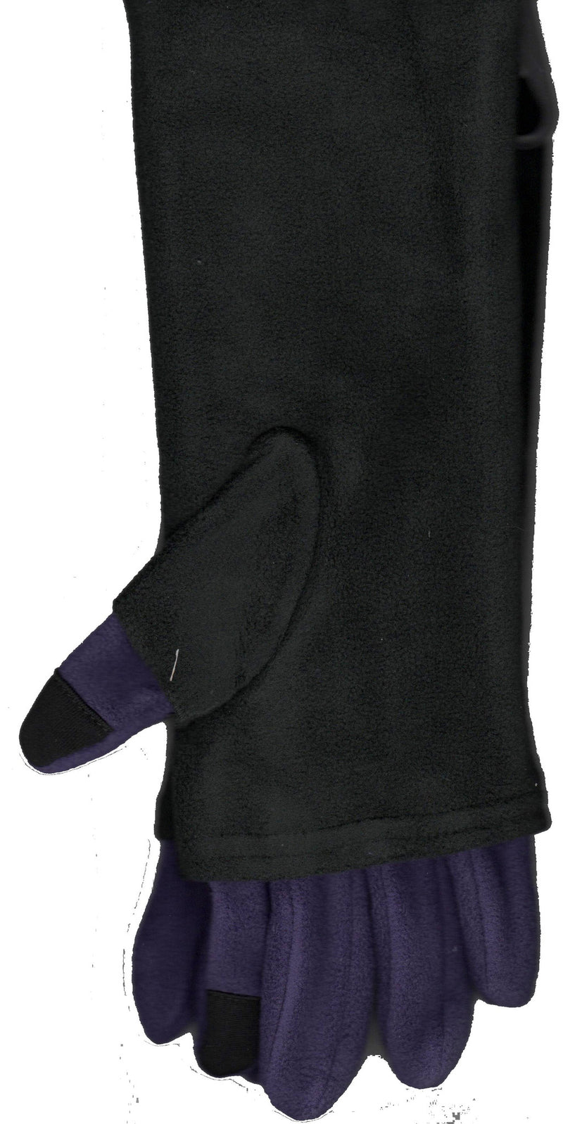 Lauer Gloves Stretch Microfleece 2 in 1 Faux Fingerless Purple