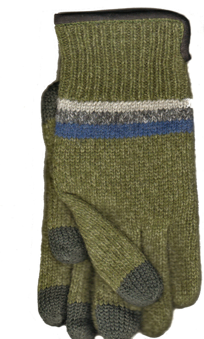 Green Lauer Mens Raggwool Touch Sensor with Suede Band Glove.
