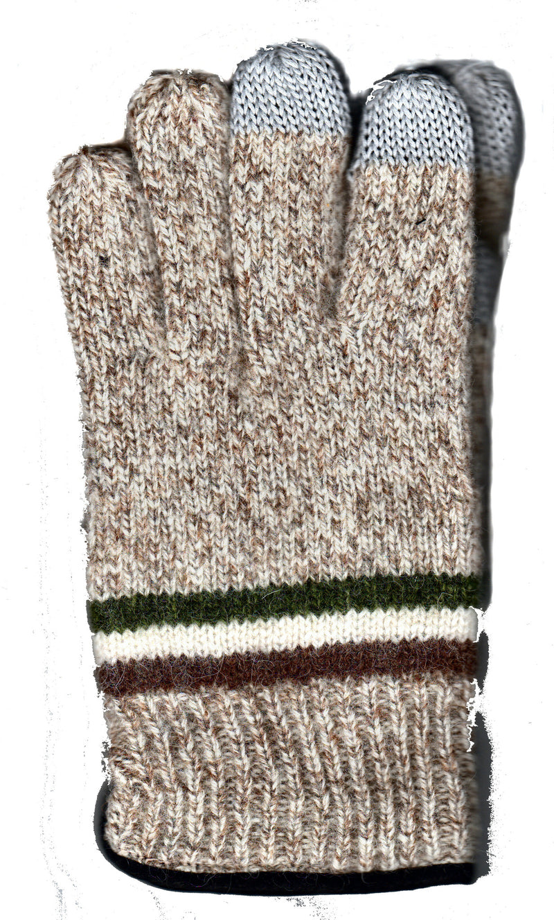 Natural Lauer Mens Raggwool Touch Sensor with Suede Band Glove