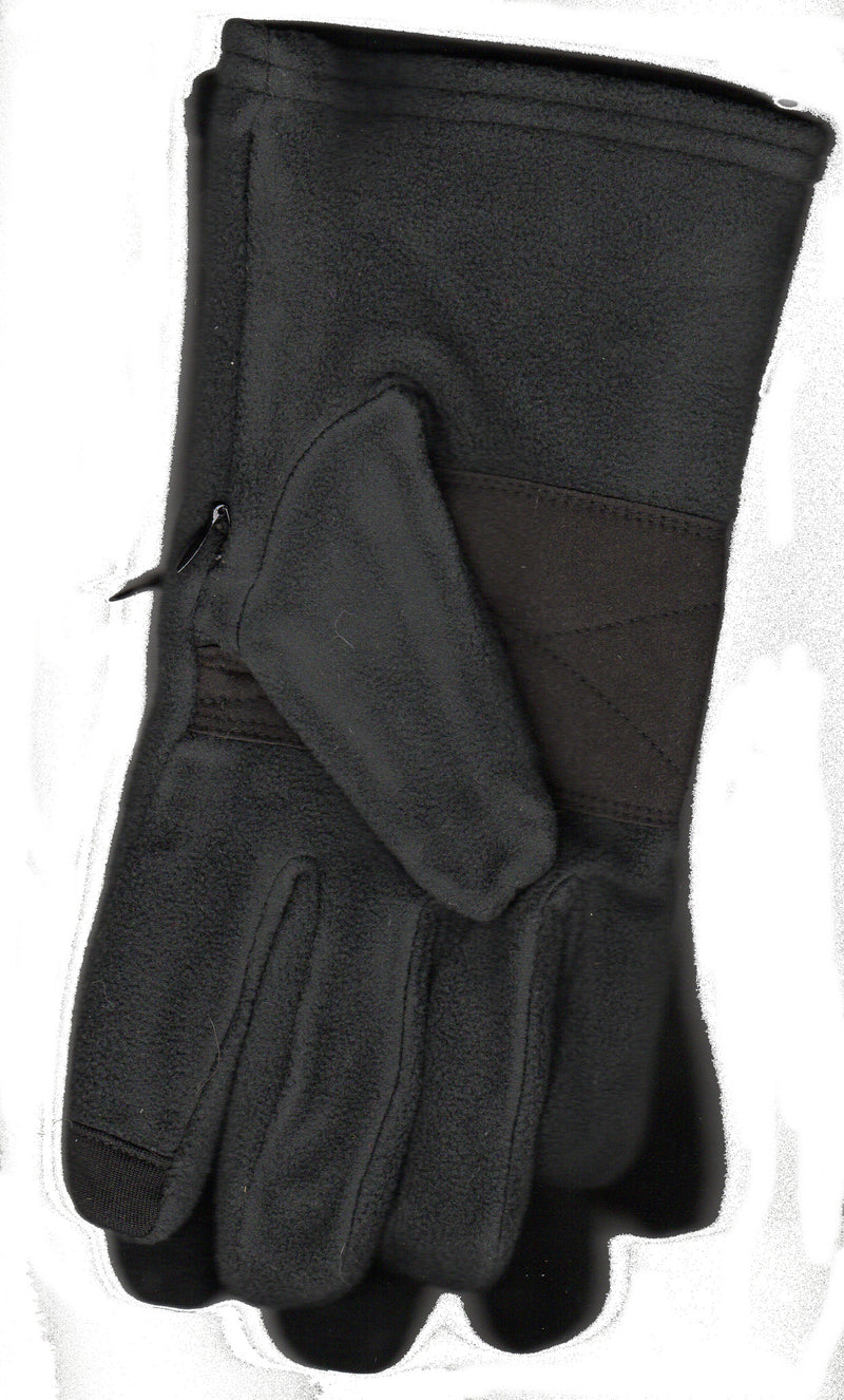 Lauer Gloves Mens Microsuede on Stretch Microfleece with Touch Sensor and a Zippered Pocket which you can put Money, Keys and ID. This one is Black Microsuede with Black Microfleece.