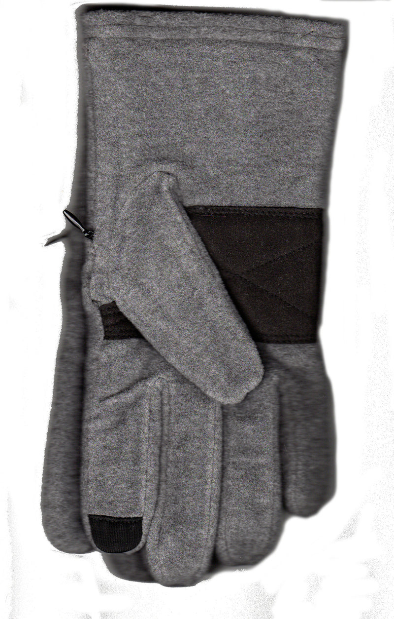 Lauer Gloves Mens Microsuede on Stretch Microfleece with Touch Sensor comes with a Zippered Pocket where you can place Money, Keys or ID. This is Grey with Black Microsuede.