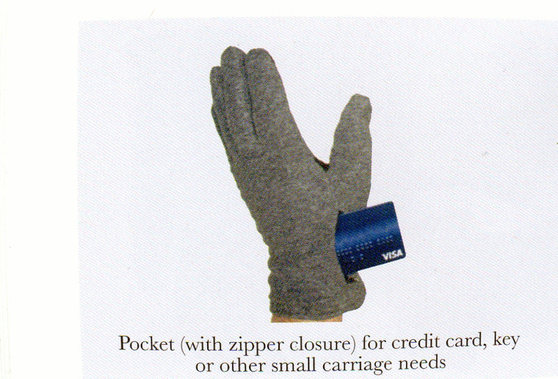 This picture shows the Mens Lauer Touch Sensor Glove with the pocket open for a credit card. Other items can be keys, money or small carriage items.