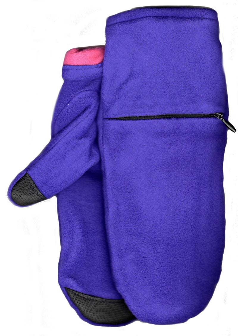 Lauer Stretch Microfleece Mitten with Zippered Pocket and Touch Sensor in Plum with Fuchsia contrast color inside.