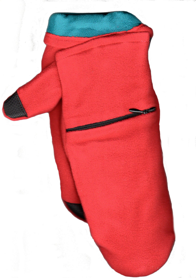 Lauer Stretch Microfleece Mitten with Zippered Pocket and Touch Sensor in Red and Deep Teal Contrast Color.