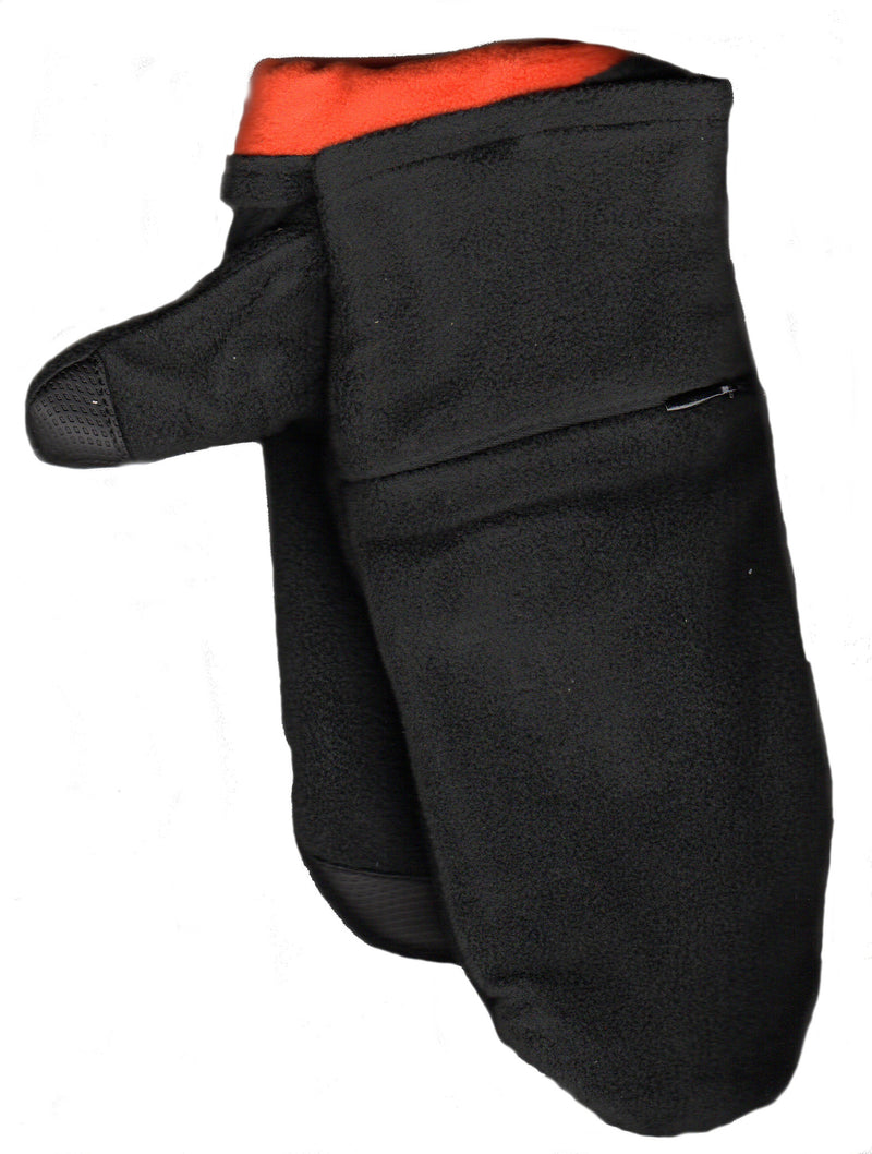 Lauer Stretch Microfleece Mitten with Zippered Pocket and Touch Sensor in Black with Orange Contrast Color