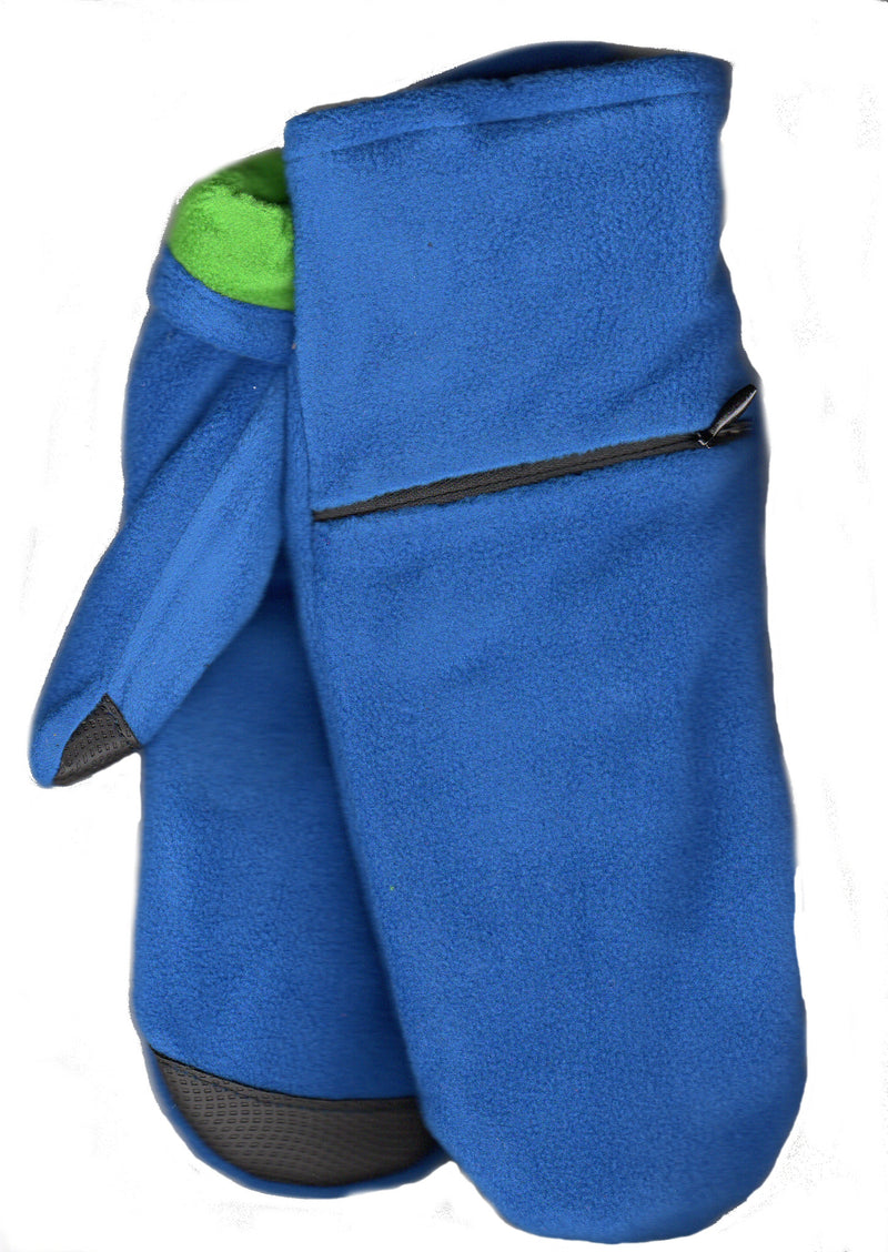 Lauer Stretch Microfleece Mitten with Zippered Pocket and Touch Sensor in Deep Blue with Green Contrast Color