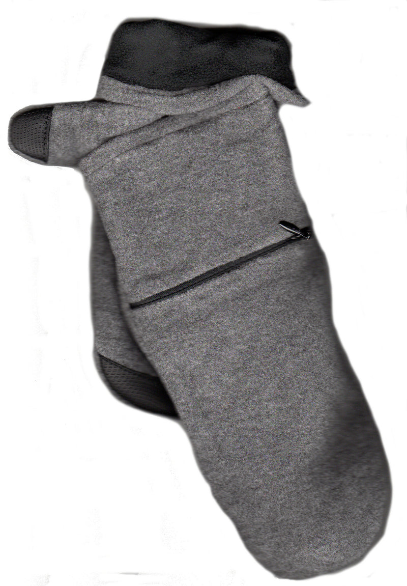 Lauer Stretch Microfleece Mitten with Zippered Pocket and Touch Sensor in Heather Grey with Black Contrast Color.