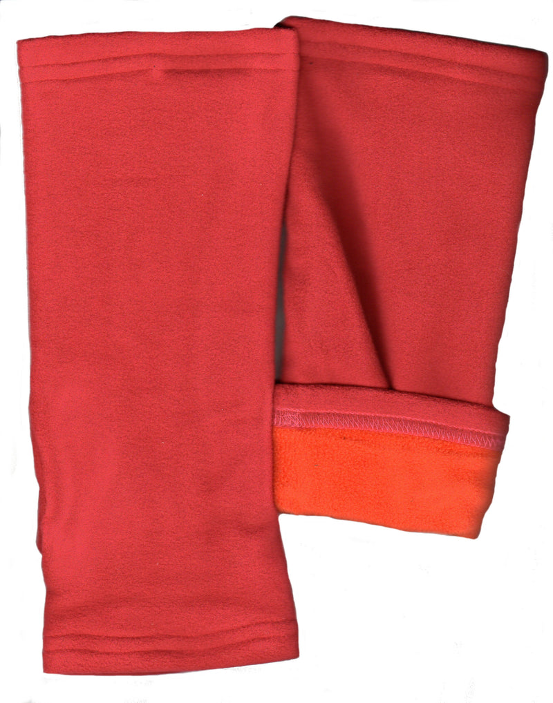 Lauer Reversible Microfleece Fingerless Gloves Stretch to fit. This is Red and Orange.