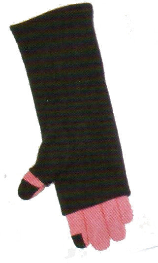 Pink and Black Lauer Stretch Microfleece 2 in 1 Faux Fingerless Glove with Touch Sensor