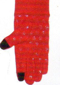 Lauer Stretch Microfleece Glove with Cuff Touch Sensor and Hand Print Non Skid on Palm in Red