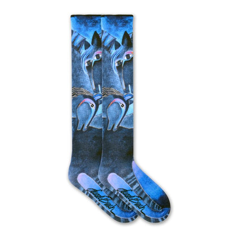 Laurel Burch Indigo Horses Knee High Socks are made with Indigo as the main Color. With this color she paints the Horses. Blues become part of the face and mane. Around their eyes and long nose are Purple, Red and Orange. The mane become Black and Grey.