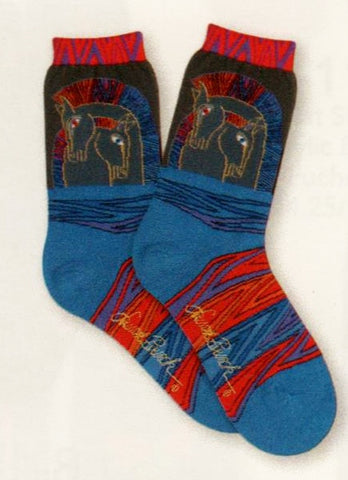 Laurel Burch makes Loving Horses Sock an artistic jump of love and caring. The Horses are entwined in Bright Colors in Gold, Reds, Purples and Blues on Black background. Below looks like the coolest Horse Blanket ever.