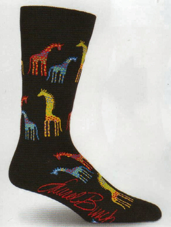 Mens Laurel Burch Giraffes Socks start with a Black background. The Giraffes are Multi-Colored by Little Dots all over. The Colors are Burgundy, Lime, Lime Green. Royal Blue and Yellow.
