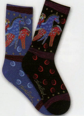 Laurel Burch Design Socks in Purple and Black with Ponies and Parrots as the main characters