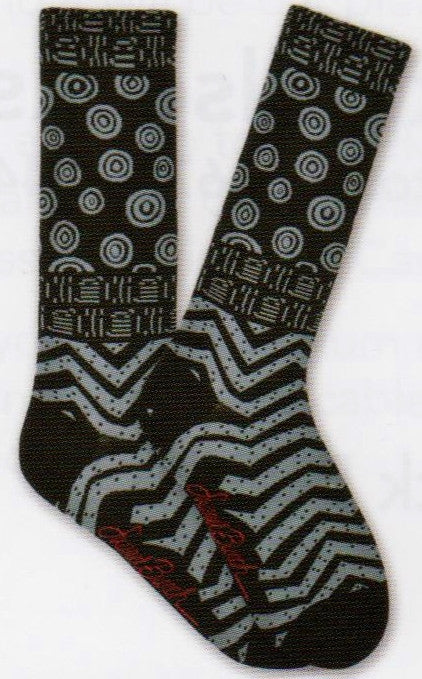 Laurel Burch Mens Shapes Socks starts on a Black background with Grey Circles, Lines, Waves, Chevrons and Dots.