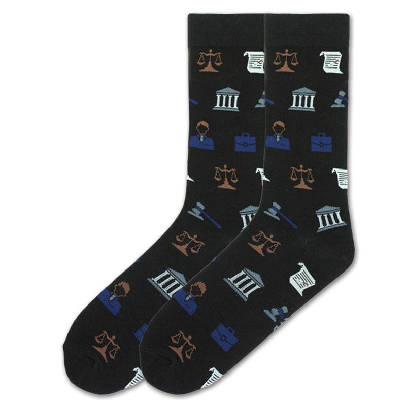 K Bell Mens Lawyer Socks are on a Black background with many of the things we might recognize with a Courtroom. One the actual Court Building. The Bill of Rights, The Scales of Justice. They are all over this sock.