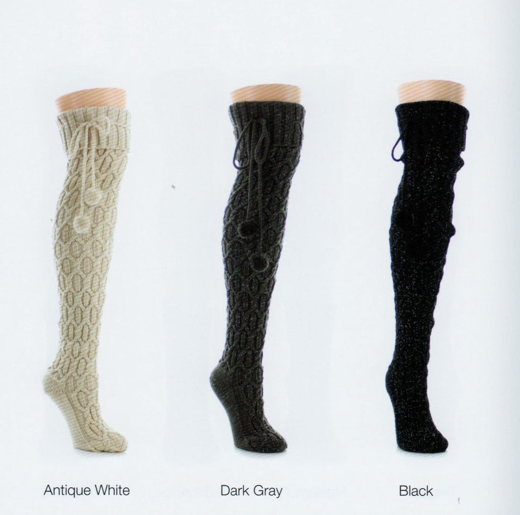 Over The Knee Twisted Cable Knit makes Diamond patterns all the way down this Soft and Warm Sock. Ties with Pom Poms at the Top.