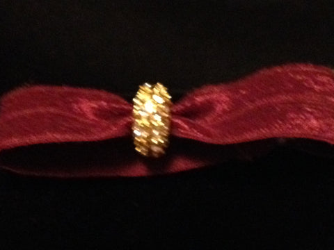 Rosewood Hair Tie with Gold and White Crystal