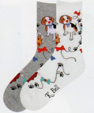 Beagle and Paws comes in Heather Grey and White. The Beagle at the top has a walk he takes with a trail with paws, his house, bones and of course a Fire Hydrant.
