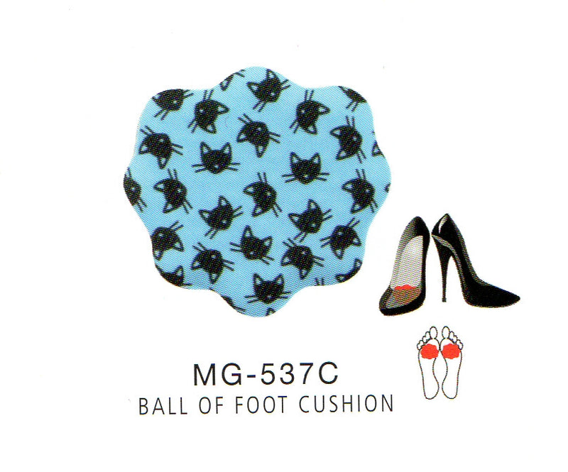 Me Moi Ball of Feet Cushions come with Black Cat Faces on Blue with Gel underneath to help absorb shock from walking.