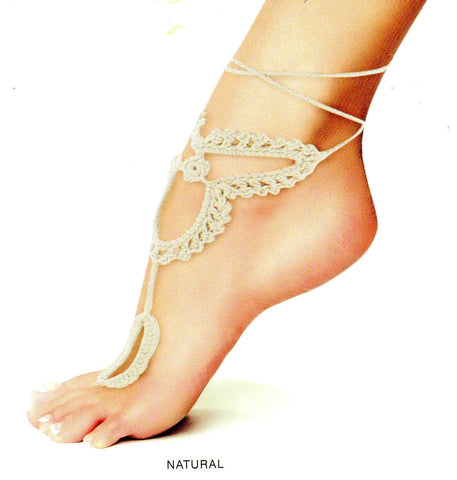 Me Moi Byzantium Crochet Foot Jewelry works wonders for showing off your foot in a great Bohemian Look. It is in Natural 100% Cotton Fabric soft on your foot.