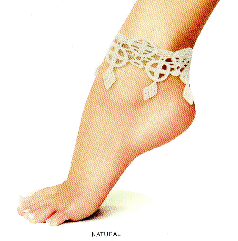 Me Moi Celtic Ankle Bracelet Foot Jewelry is Cotton Natural Color. It has the Celtic Cross and Diamonds drop from them. This is a great piece of jewelry for the Bohemian Style trending now.