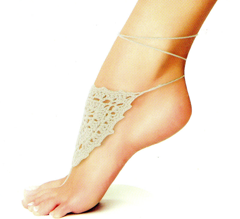 Me Moi Shield of Lace Crochet Foot Jewelry is a Natural Color shield of soft yarn over the top of your foot. It ties to the back to your foot.