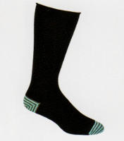 Comfort in a Basic Black Sock by Ozone which is not so basic.  No one will know but you that you have Light Teal and Grey Stripes on the Heels and Toes.