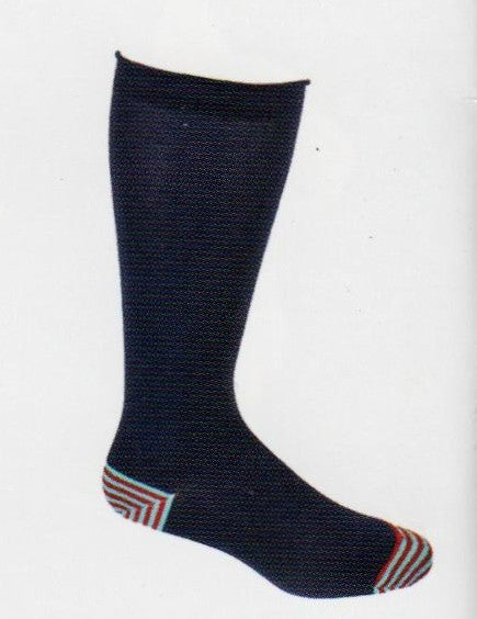 Ozone Basic Navy is a Cozy Cotton Blend with just a hidden amount of Color you can hide the Light Blue and Red Stripes on the Heels and Toes