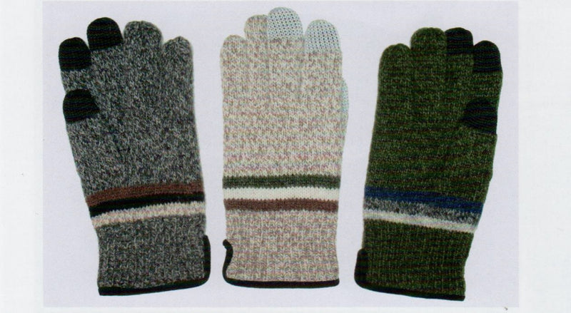 Lauer Mens Raggwool Touch Sensor with Suede Band Glove