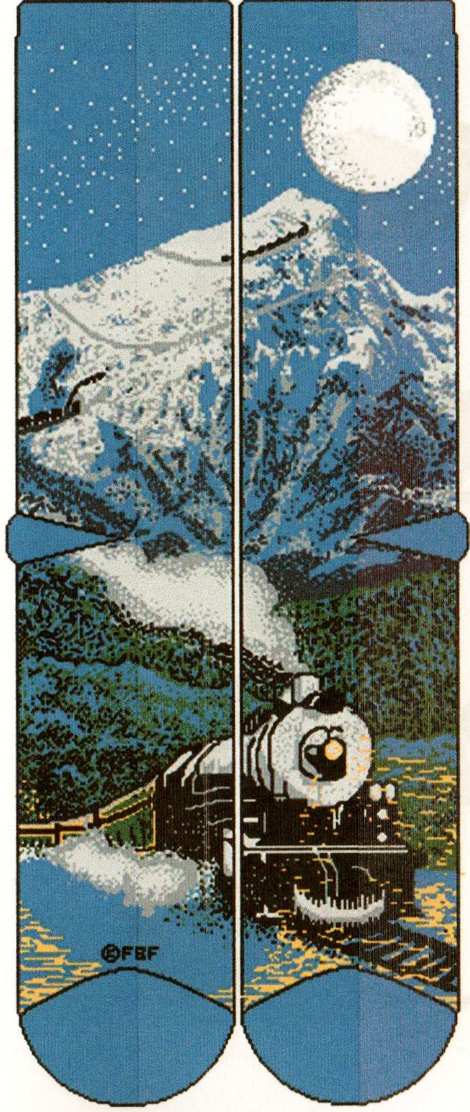 FBF Mountain Train at Night is a train that has found the passage through the mountains in the evening Moon light.