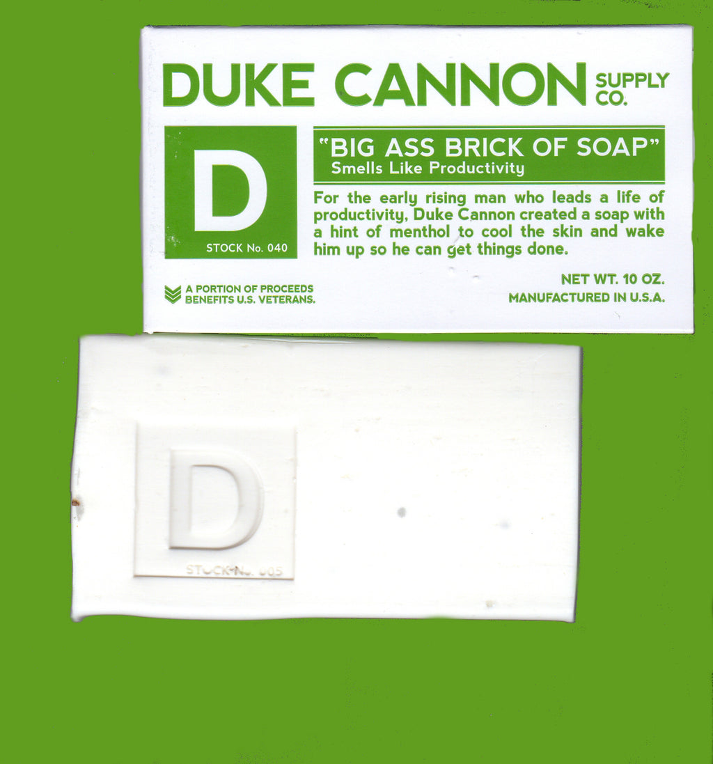 This is my photo of Duke Cannon Big Ass Brick of Soap Smells Like Productivity. A lot of White you can't see the bar but this one you certainly can see it is BIG!