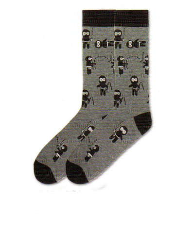 Ninja Mens Socks from K Bell come in Large and X-Large Sizes. Black on the Cuffs, Heels and Toes. Grey background with Ninja Warriors with different weapons on the sock.