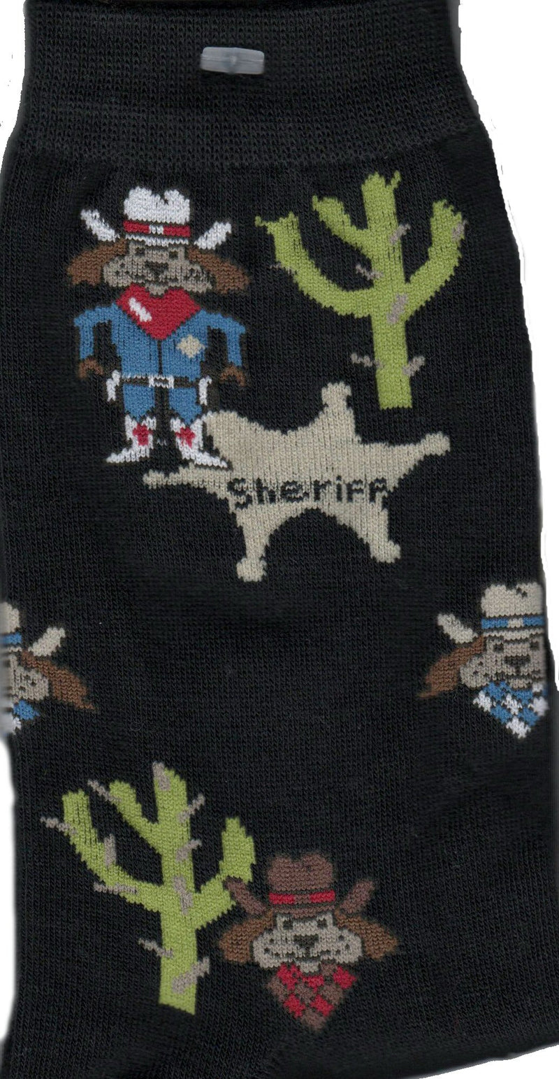 New Sheriff in Town on Black background show dogs as Bandits and one in Sheriff costume. Along with Green Cactus and a Tan Badge.