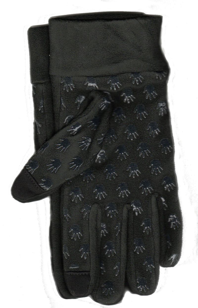 Lauer Stretch Microfleece Glove with Cuff Touch Sensor and Hand Print Non Skid in Black