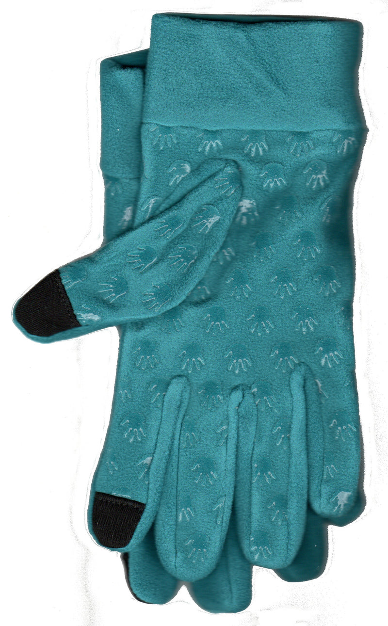 Lauer Stretch Microfleece Glove with Touch Sensor and Hand Print Non Skid Palm in Peacock.