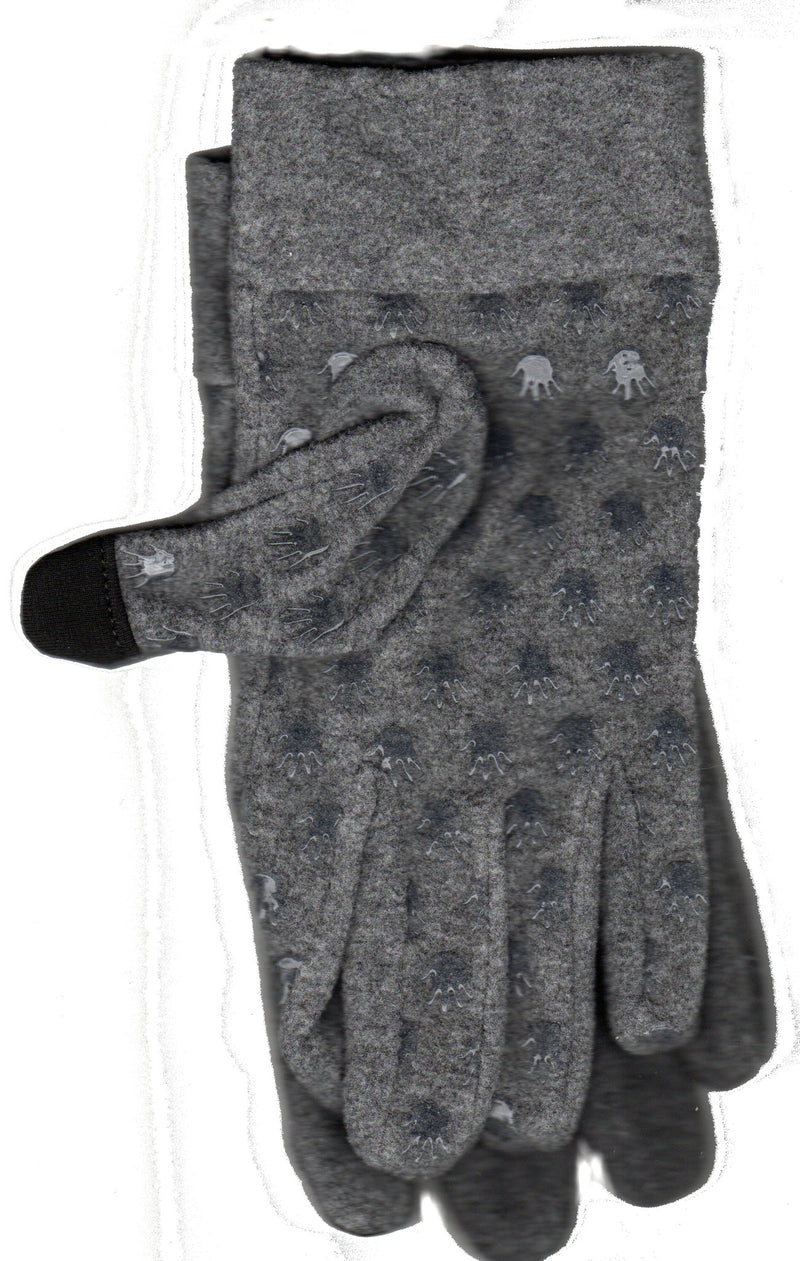 Lauer Stretch Microfleece Glove with Cuff Touch Sensor and Hand Print Non Skid in Heather Grey.