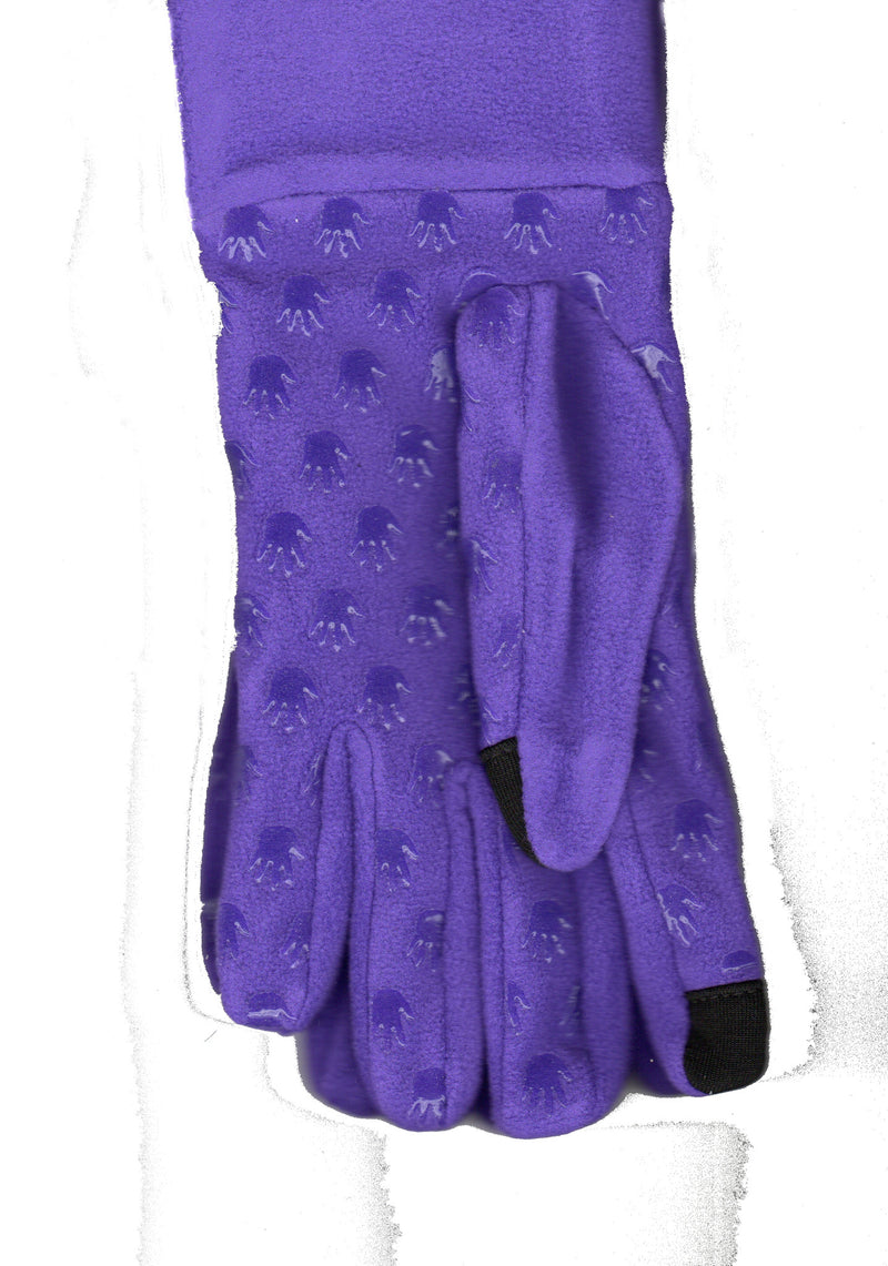 Lauer Stretch Microfleece Glove with Cuff Touch Sensor and Hand Print Non Skid in Purple.