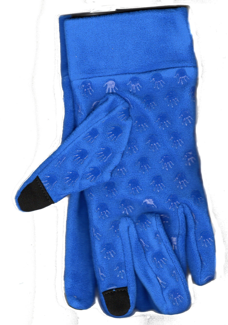 Lauer Stretch Microfleece Glove Non Skid Hand Print with Cuff and Touch Sensor in Blue.