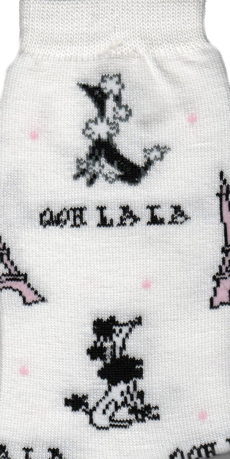 She is a Queen and she knows it this Poodle on OOh La La Sock all on a White background. Pink circles balls or Champagne bubbles? The Poodle is Black and White. The Eiffel Tower is Black and Pink.