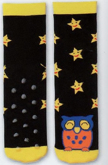 K Bell Owl and Stars Non-Skid Sock with Yellow Smile Face Stars and a cool Owl in Blue, Yellow and Rust.