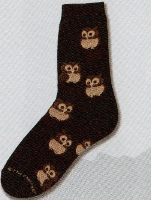 FBF Owls Sock is on a Black background with Brown Owls on Brown Twigs Hanging around all over the sock.