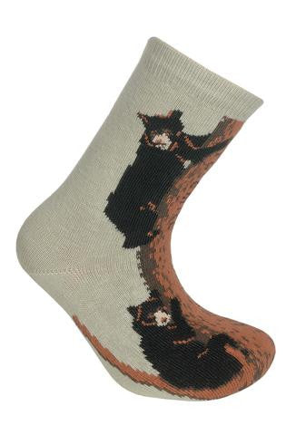 Wheel House Designs Bears Climbing for Children Sock starts on a Stone background. With Three Black Bears climbing the Conifer Tree. The Tree Trunk is Rufous and Bole Colors. The Bears are three Black Bears with Rufous Detail and Cream Snouts.