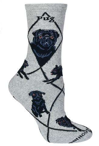 Wheel House Deigns Pug Black on Grey Sock has Black Diamonds over the Sock. Pug is in Bold Black print under the Cuff. Two Profiles one Front and Side View come next. Poses are of Pugs two different ways of laying down, sitting and standing.