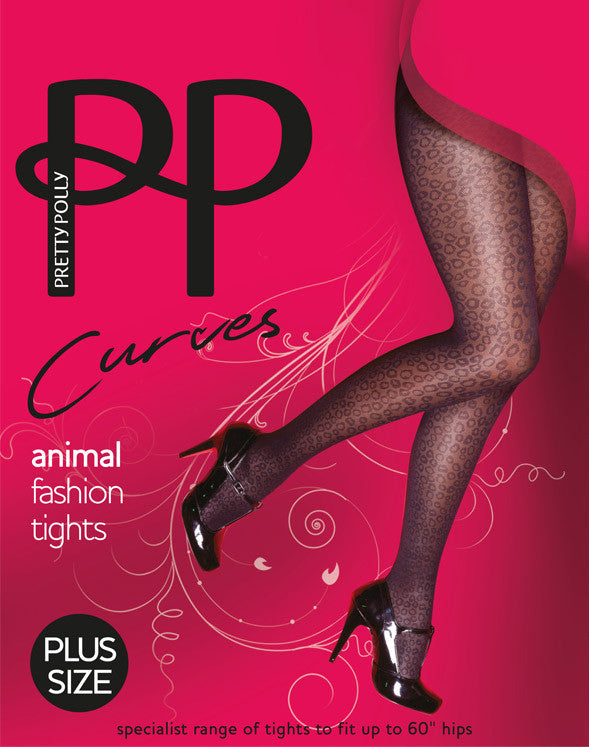 Pretty Polly Curves Animal Fashion Tights Shows Animal Print from shoes to top of thigh wear the panty starts.